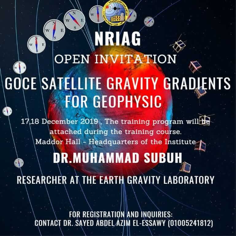 "Workshop: ""GOCE satellite gravity gradients for Geophysics"", 17 to 18 December 2019."