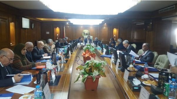 Prof. Dr. Khaled Abdelghaffar, the minister of higher education and scientific research heads the meeting of the board of the National Research Institute of Astronomy and Geophysics (NRIAG)
