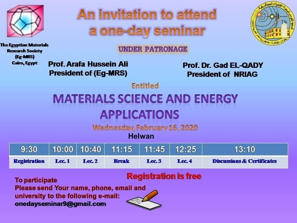 """An invitation to attend a one-day seminar """"Materials Science and Energy Applications"""",Wednesday 26 February 2020 09.30 AM"""